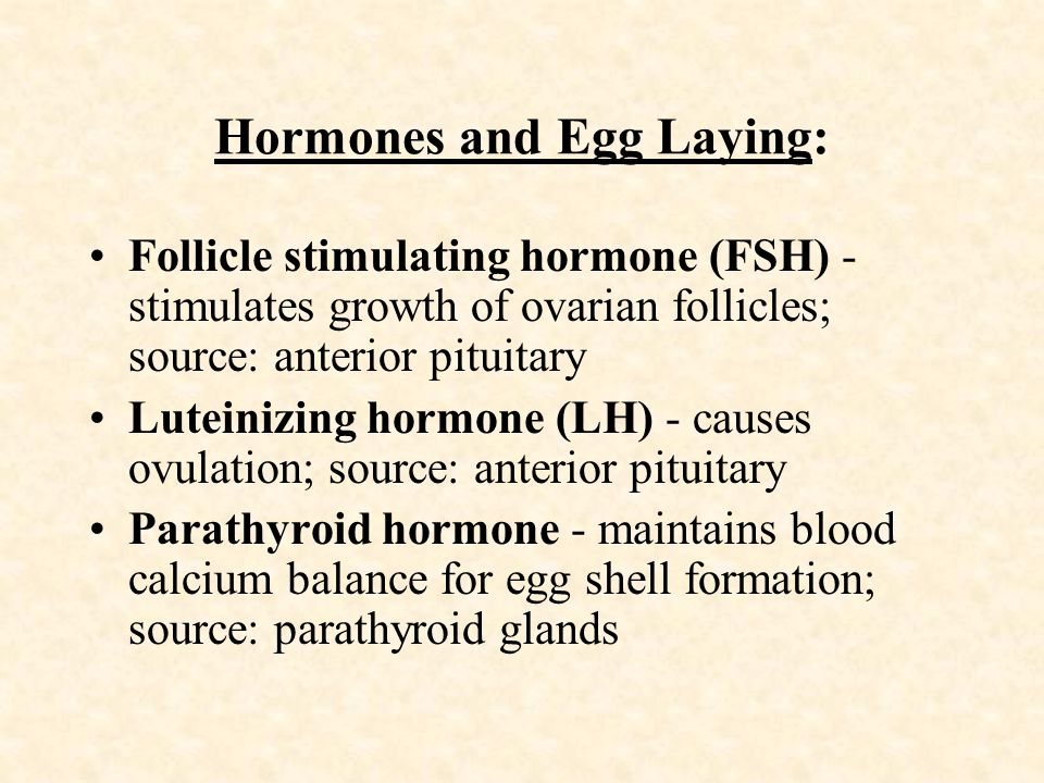Hormones and Egg Laying: Follicle stimulating hormone (FSH) - stimulates growth of ovarian follicles; source: anterior pituitary Luteinizing hormone (