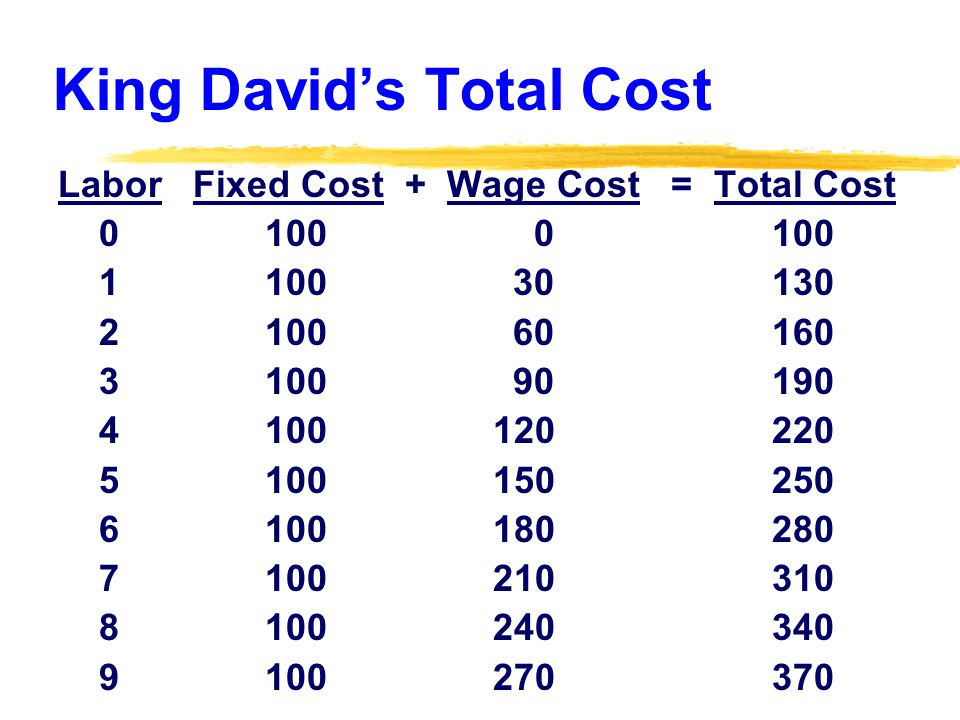 King Davids Total Cost Labor Fixed Cost + Wage Cost = Total Cost 0 100 0 100 1 100 30 130 2 100 60 160 3 100 90 190 4 100 120 220 5 100 150 250 6 100 180 280 7 100 210 310 8 100 240 340 9 100 270 370