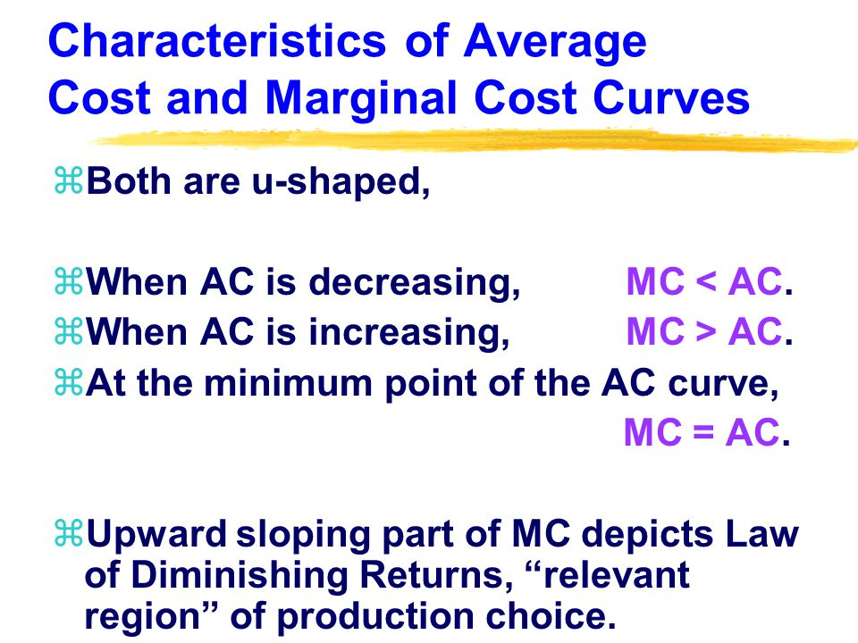 Characteristics of Average Cost and Marginal Cost Curves zBoth are u-shaped, zWhen AC is decreasing, MC < AC.