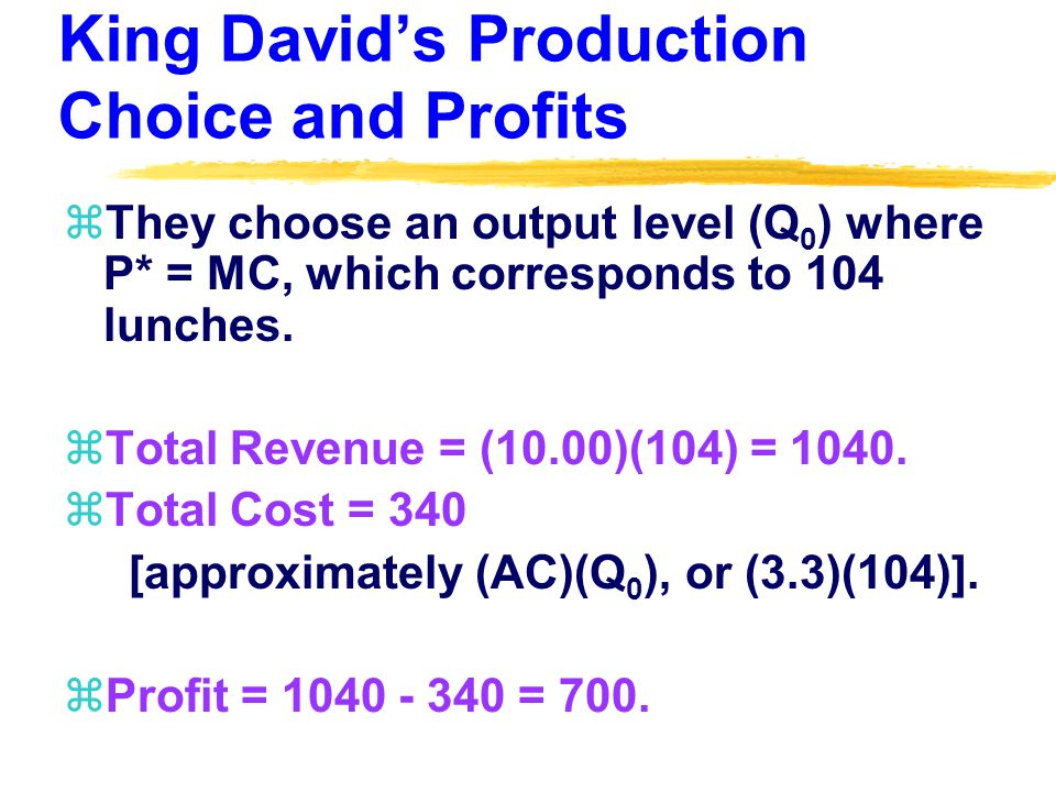 King Davids Production Choice and Profits zThey choose an output level (Q 0 ) where P* = MC, which corresponds to 104 lunches.