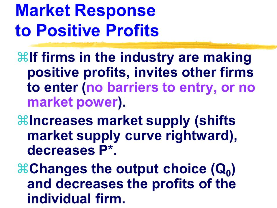 Market Response to Positive Profits zIf firms in the industry are making positive profits, invites other firms to enter (no barriers to entry, or no market power).