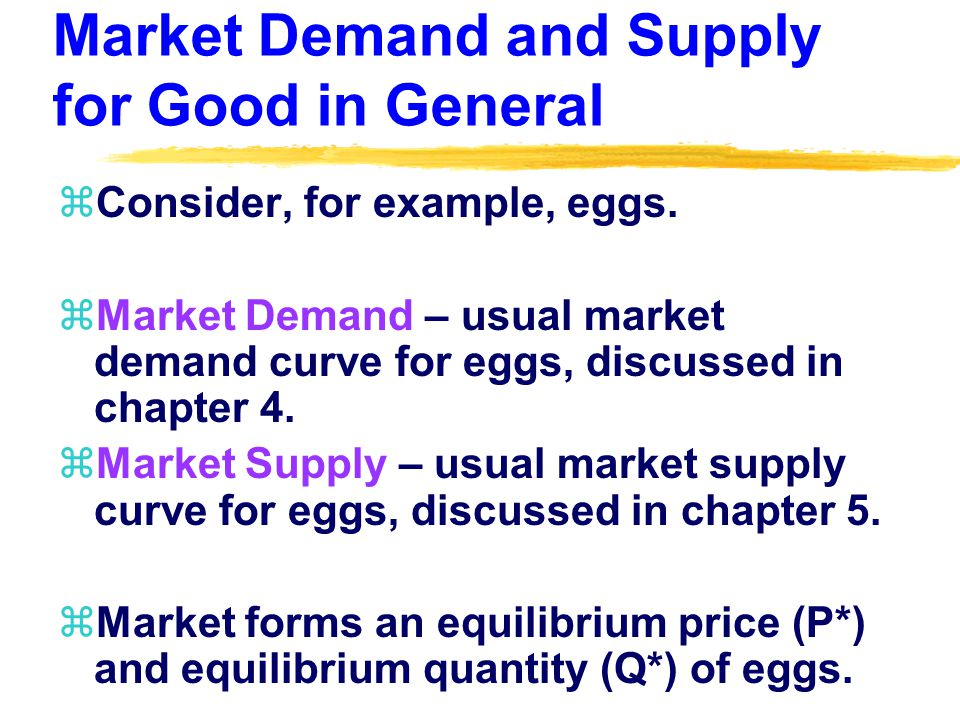 Market Demand for the Individual Producers Good zHomogeneous goods individual producers eggs are perfect substitutes with other egg producers eggs.