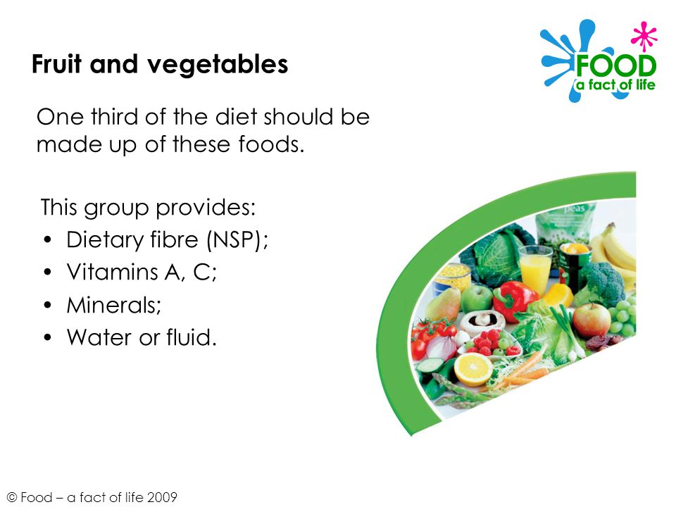 © Food – a fact of life 2009 Fruit and vegetables This group provides: Dietary fibre (NSP); Vitamins A, C; Minerals; Water or fluid. One third of the