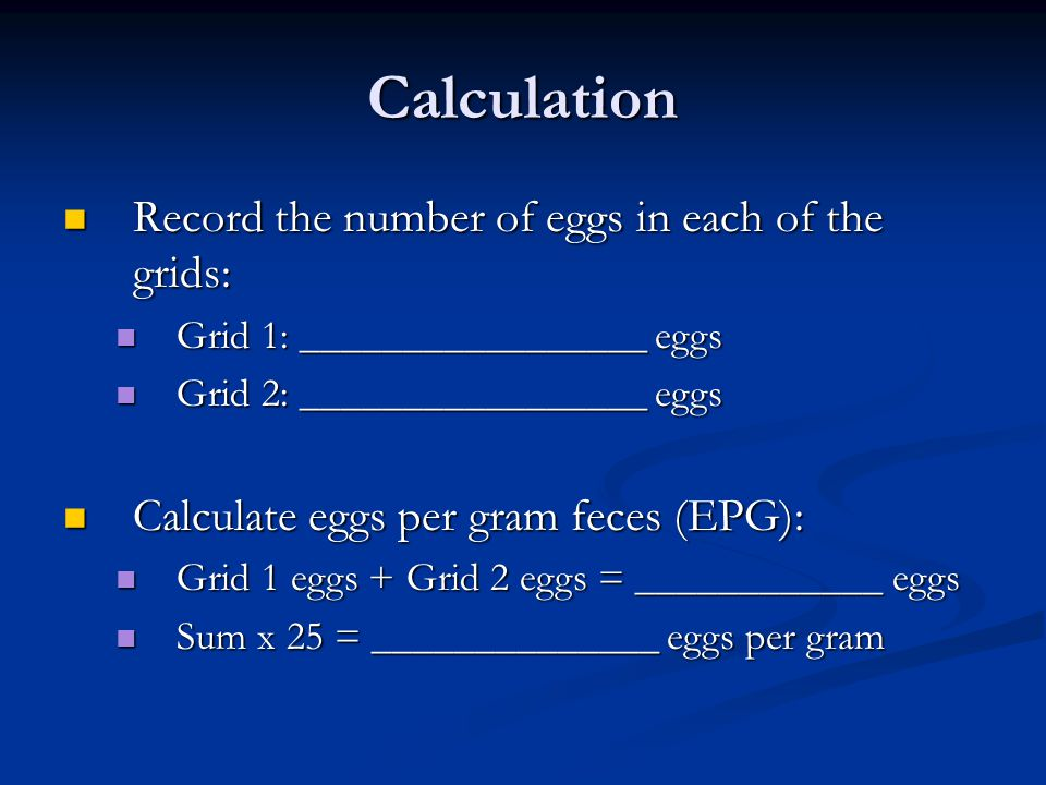 Calculation Record the number of eggs in each of the grids: Record the number of eggs in each of the grids: Grid 1: _________________ eggs Grid 1: ___