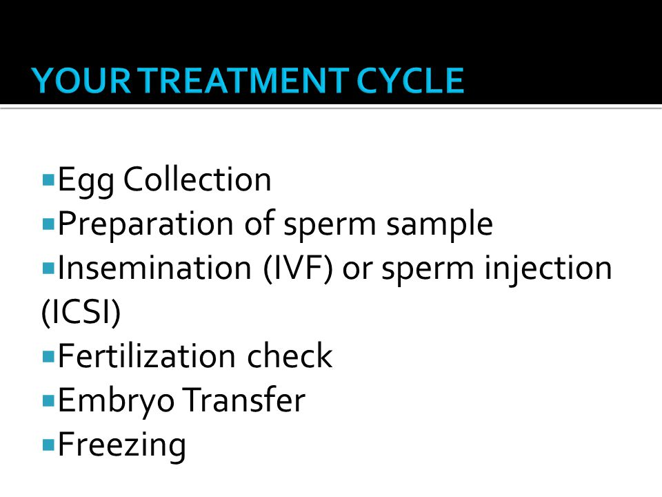 Egg Collection Preparation of sperm sample Insemination (IVF) or sperm injection (ICSI) Fertilization check Embryo Transfer Freezing
