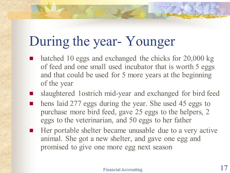 Financial Accounting 17 During the year- Younger hatched 10 eggs and exchanged the chicks for 20,000 kg of feed and one small used incubator that is w