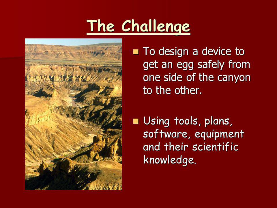 The Challenge To design a device to get an egg safely from one side of the canyon to the other.