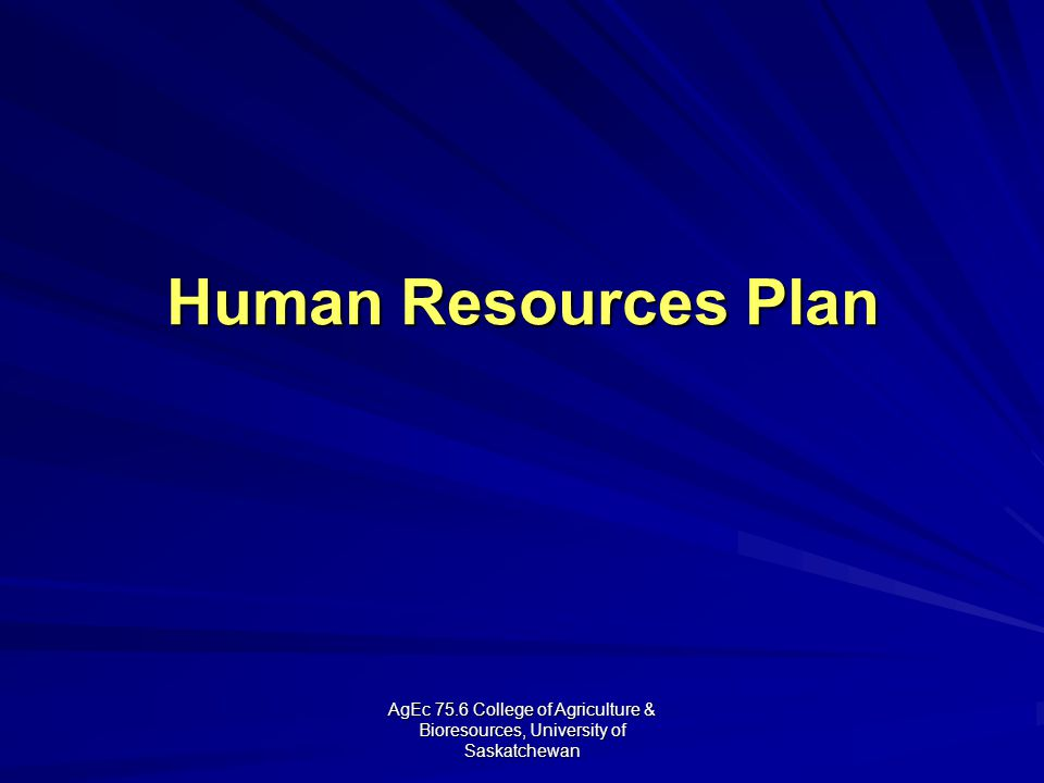 AgEc 75.6 College of Agriculture & Bioresources, University of Saskatchewan Human Resources Plan