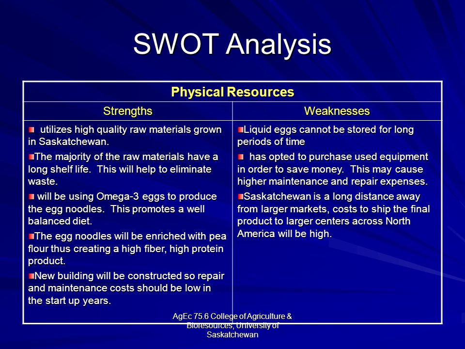 AgEc 75.6 College of Agriculture & Bioresources, University of Saskatchewan SWOT Analysis Physical Resources StrengthsWeaknesses utilizes high quality raw materials grown in Saskatchewan.