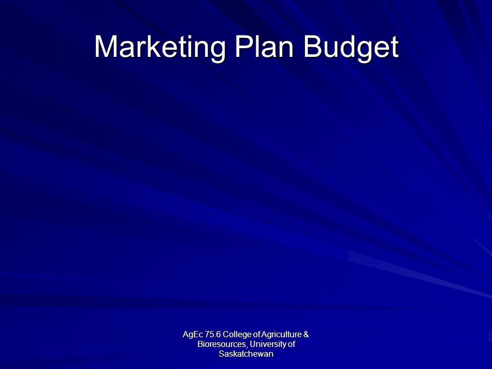 AgEc 75.6 College of Agriculture & Bioresources, University of Saskatchewan Marketing Plan Budget