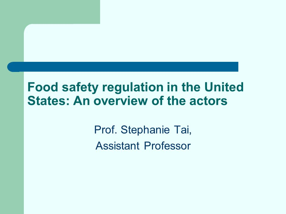 A pictorial overview of the food safety actors Federal Agencies U.S.