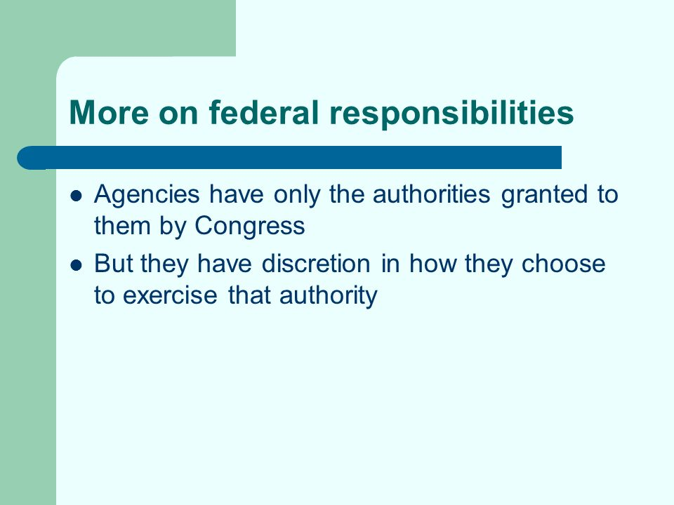 Even more on some of the problems Inadequate mandate to protect safety of the food supply: statutes provide authority only in particular circumstances Inadequate resources to protect safety of the food supply: agencies might not have adequate resources to perform the sorts of inspections contemplated by their authorizing statutes Inadequate legal tools: agencies might lack the ability to inspect, issue fines, mandate adoption of good practices procedures, etc.