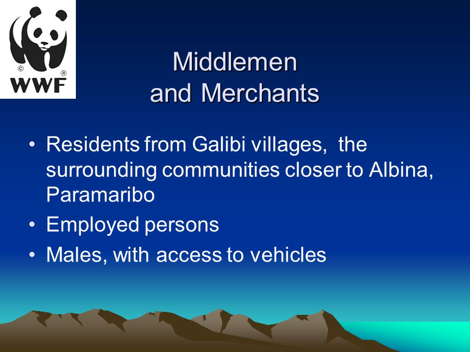 Middlemen and Merchants Residents from Galibi villages, the surrounding communities closer to Albina, Paramaribo Employed persons Males, with access to vehicles