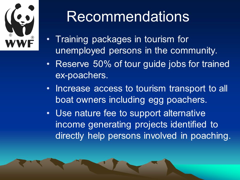 Training packages in tourism for unemployed persons in the community.
