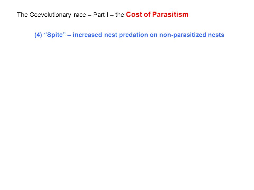 The Coevolutionary race – Part I – the Cost of Parasitism (4) Spite – increased nest predation on non-parasitized nests