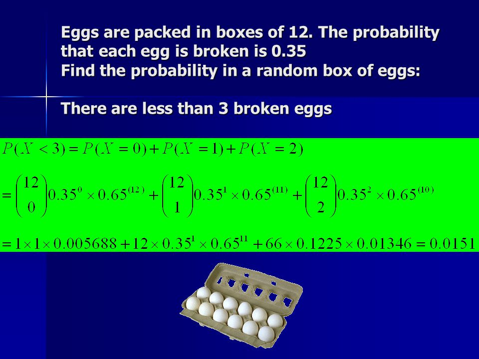 Eggs are packed in boxes of 12.