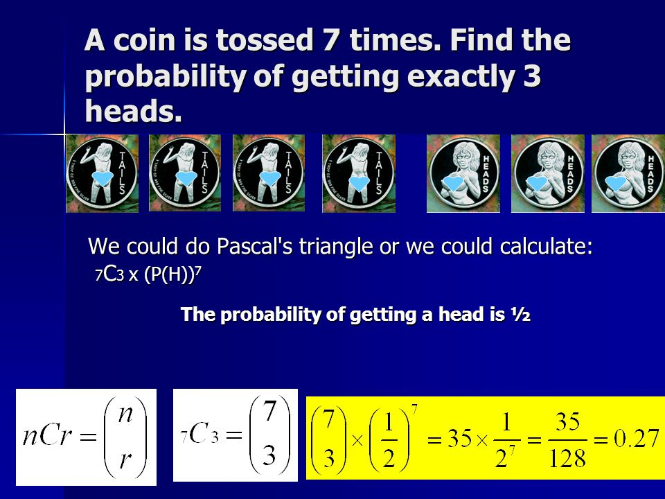 A coin is tossed 7 times. Find the probability of getting exactly 3 heads.