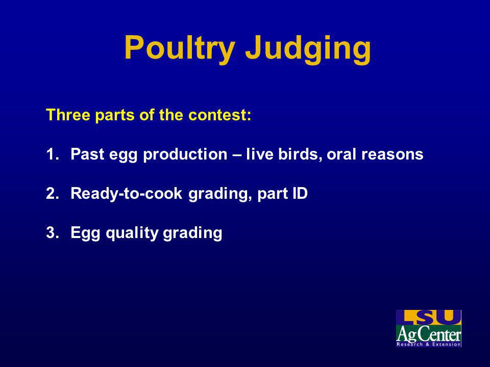 Poultry Judging Three parts of the contest: 1.Past egg production – live birds, oral reasons 2.Ready-to-cook grading, part ID 3.Egg quality grading