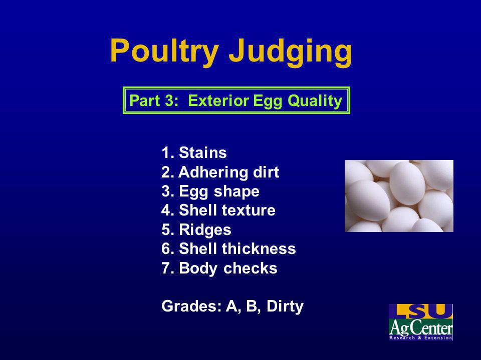 Poultry Judging 1. Stains 2. Adhering dirt 3. Egg shape 4. Shell texture 5. Ridges 6. Shell thickness 7. Body checks Grades: A, B, Dirty Part 3: Exter