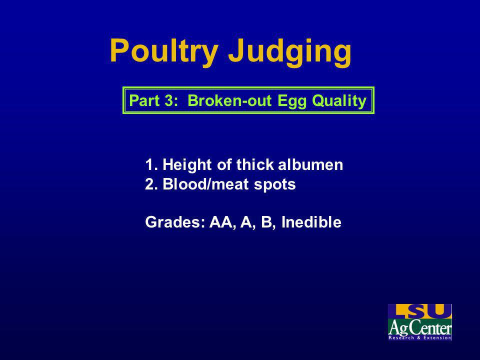 Poultry Judging 1. Height of thick albumen 2. Blood/meat spots Grades: AA, A, B, Inedible Part 3: Broken-out Egg Quality