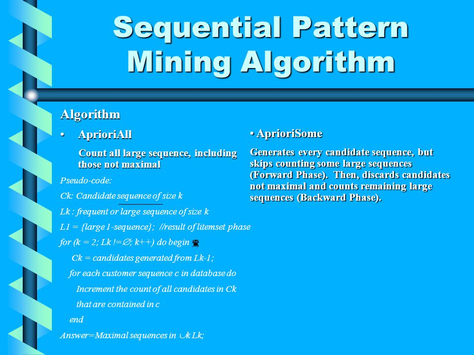 Sequential Pattern Mining Algorithm Algorithm AprioriAllAprioriAll Count all large sequence, including those not maximal Pseudo-code: Ck: Candidate sequence of size k Lk : frequent or large sequence of size k L1 = {large 1-sequence}; //result of litemset phase for (k = 2; Lk != ; k++) do begin Ck = candidates generated from Lk-1; for each customer sequence c in database do Increment the count of all candidates in Ck that are contained in c end Answer=Maximal sequences in k Lk; AprioriSome AprioriSome Generates every candidate sequence, but skips counting some large sequences (Forward Phase).
