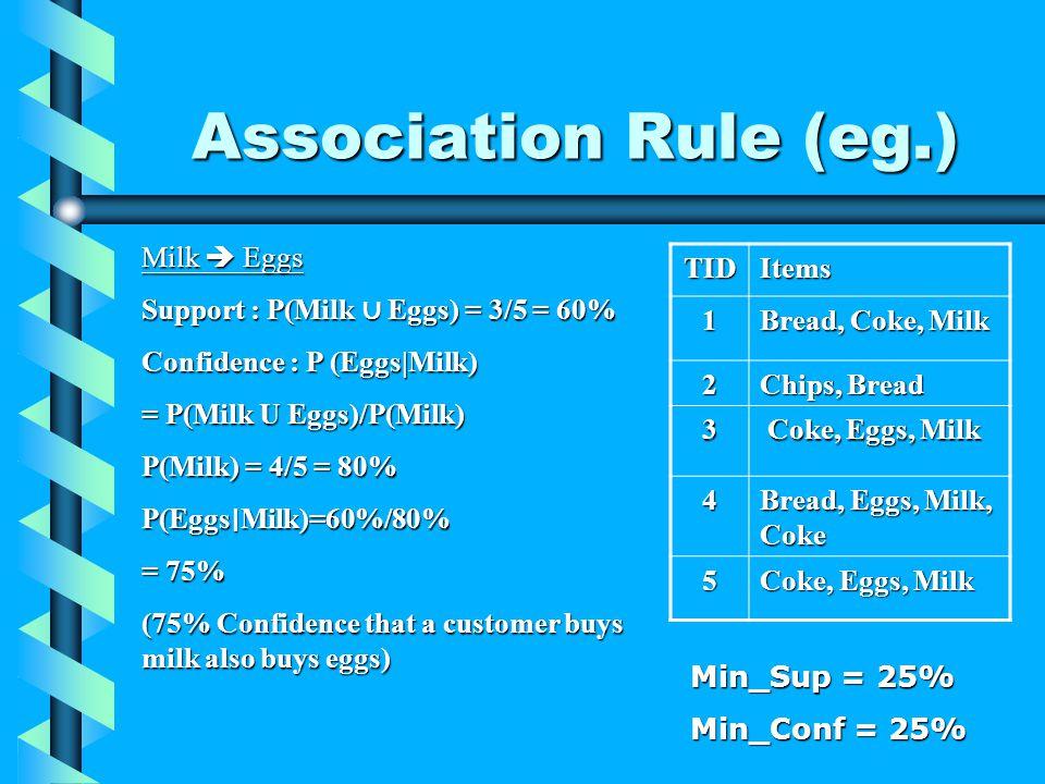 Association Rule (eg.) TIDItems 1 Bread, Coke, Milk 2 Chips, Bread 3 Coke, Eggs, Milk Coke, Eggs, Milk 4 Bread, Eggs, Milk, Coke 5 Coke, Eggs, Milk Min_Sup = 25% Min_Conf = 25% Milk Eggs Support :P(Milk Eggs) = 3/5 = 60% Support : P(Milk Eggs) = 3/5 = 60% Confidence :P (Eggs|Milk) Confidence : P (Eggs|Milk) = P(Milk U Eggs)/P(Milk) P(Milk) = 4/5 = 80% P(Eggs Milk)=60%/80% = 75% (75% Confidence that a customer buys milk also buys eggs)
