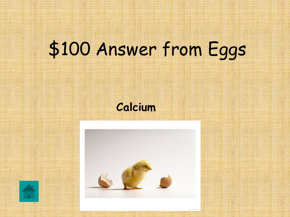 $100 Question from Eggs What is a chicken egg shell made of
