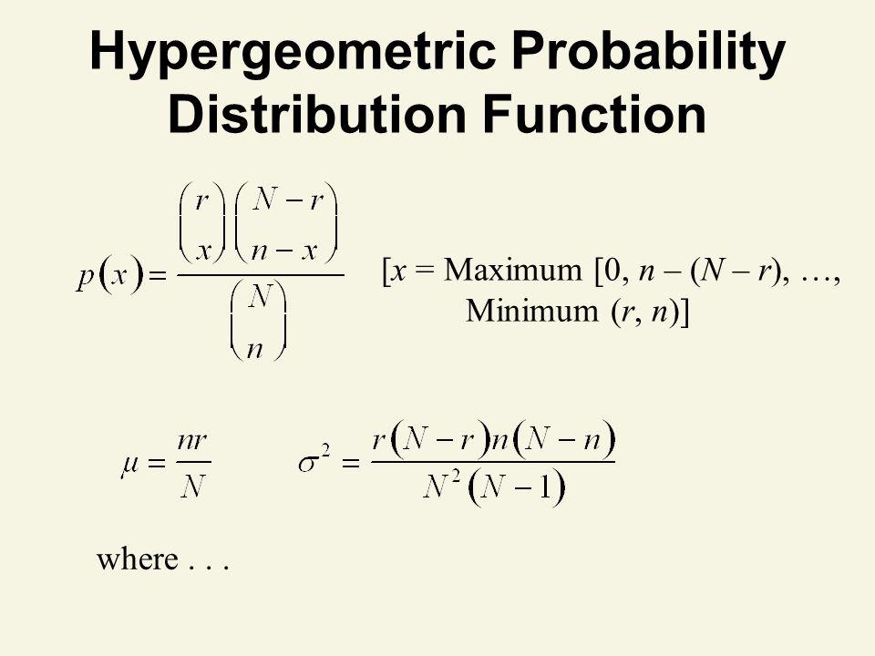 Hypergeometric Probability Distribution Function where...