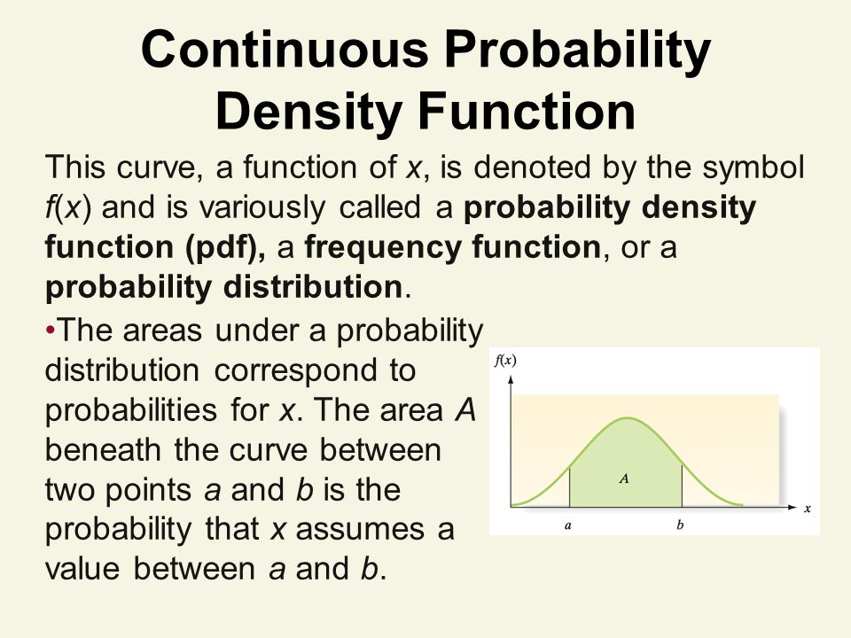 Continuous Probability Density Function This curve, a function of x, is denoted by the symbol f(x) and is variously called a probability density function (pdf), a frequency function, or a probability distribution.