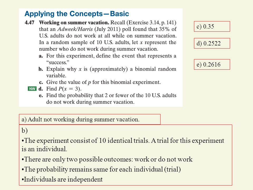 a) Adult not working during summer vacation.b) The experiment consist of 10 identical trials.