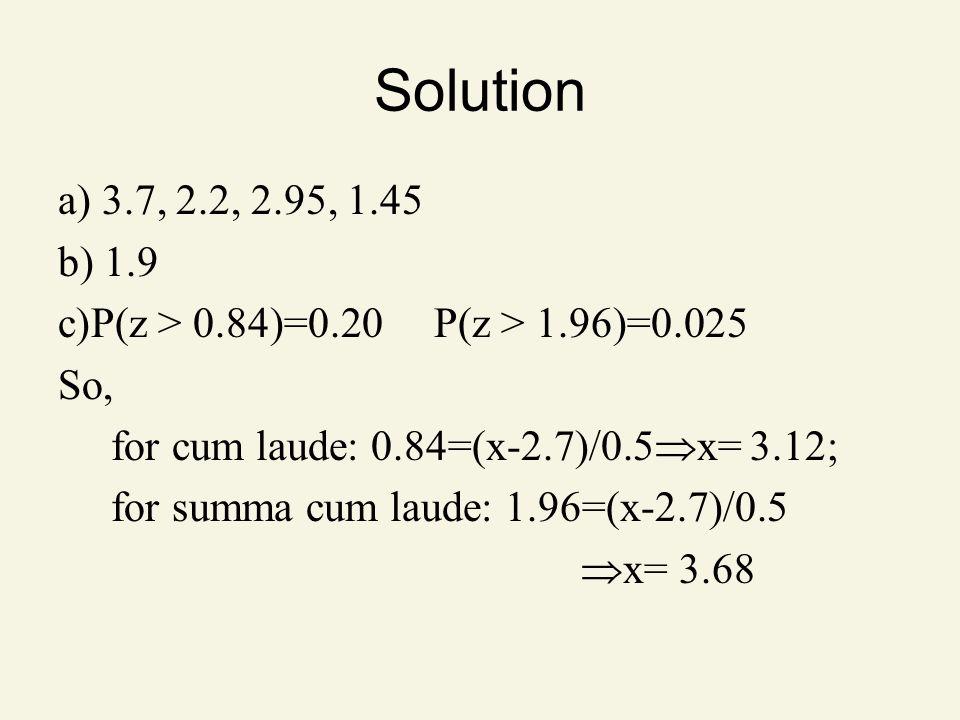 Solution a) 3.7, 2.2, 2.95, 1.45 b) 1.9 c)P(z > 0.84)=0.20 P(z > 1.96)=0.025 So, for cum laude: 0.84=(x-2.7)/0.5 x= 3.12; for summa cum laude: 1.96=(x-2.7)/0.5 x= 3.68
