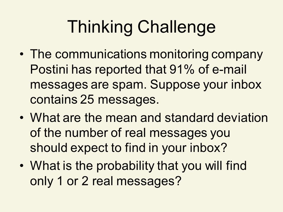 Thinking Challenge The communications monitoring company Postini has reported that 91% of e-mail messages are spam.