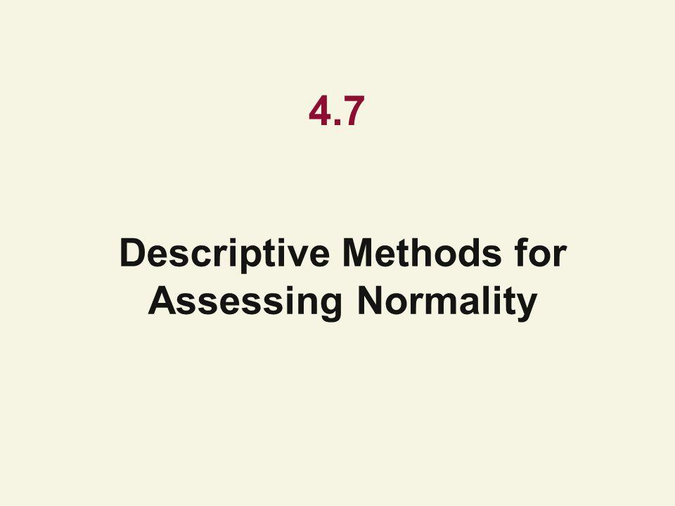 4.7 Descriptive Methods for Assessing Normality