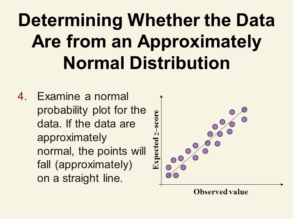 Determining Whether the Data Are from an Approximately Normal Distribution 4.Examine a normal probability plot for the data.