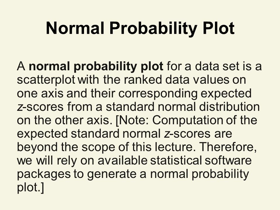 Normal Probability Plot A normal probability plot for a data set is a scatterplot with the ranked data values on one axis and their corresponding expected z-scores from a standard normal distribution on the other axis.