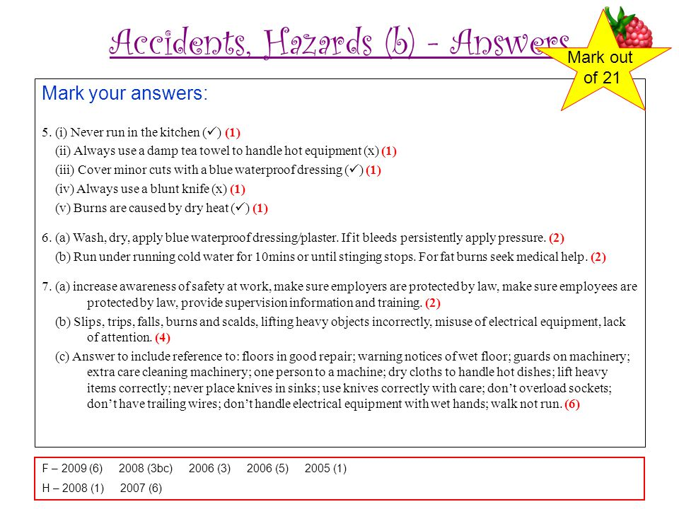 Accidents, Hazards (b) - Answers Mark your answers: 5. (i) Never run in the kitchen ( ) (1) (ii) Always use a damp tea towel to handle hot equipment (