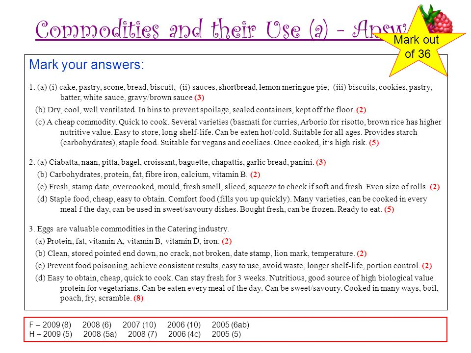 Commodities and their Use (a) - Answers Mark your answers: 1.