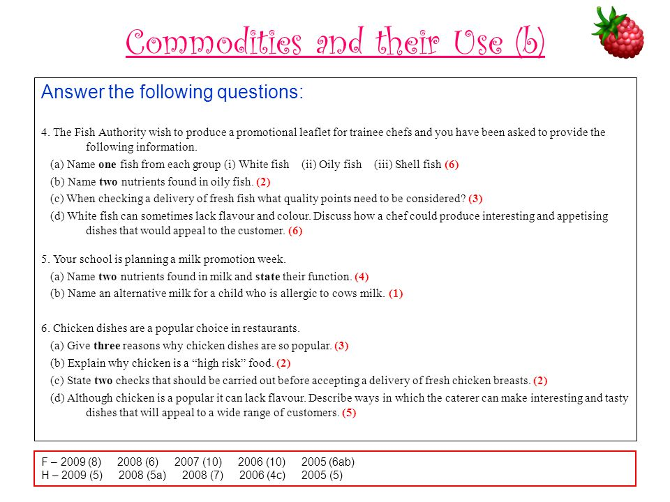 Commodities and their Use (b) Answer the following questions: 4.