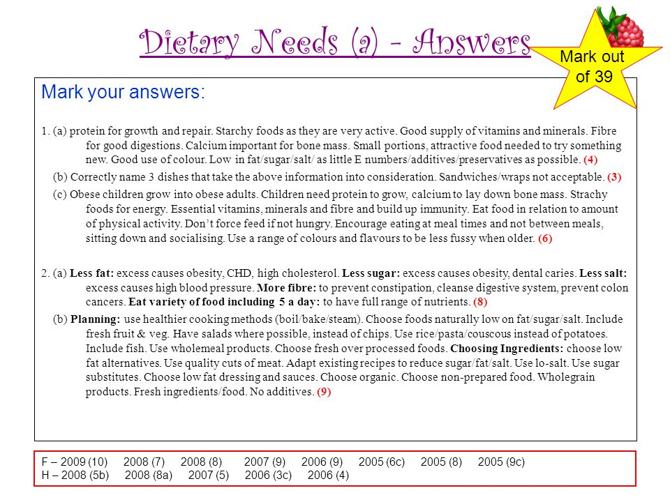 Dietary Needs (a) - Answers Mark your answers: 1.(a) protein for growth and repair.