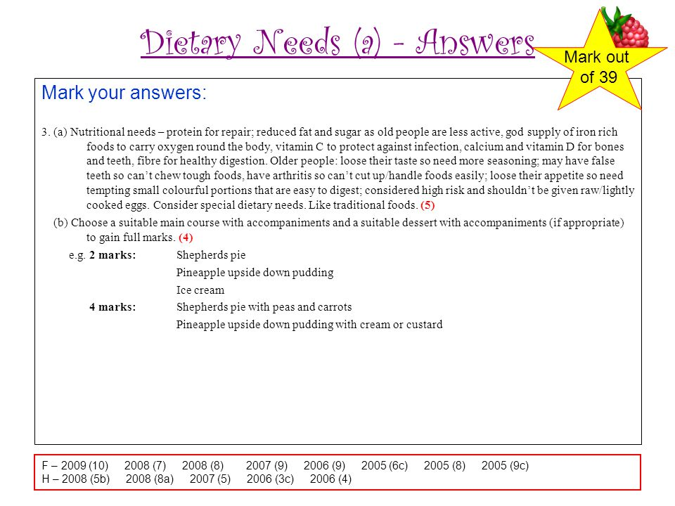 Dietary Needs (a) - Answers Mark your answers: 3.
