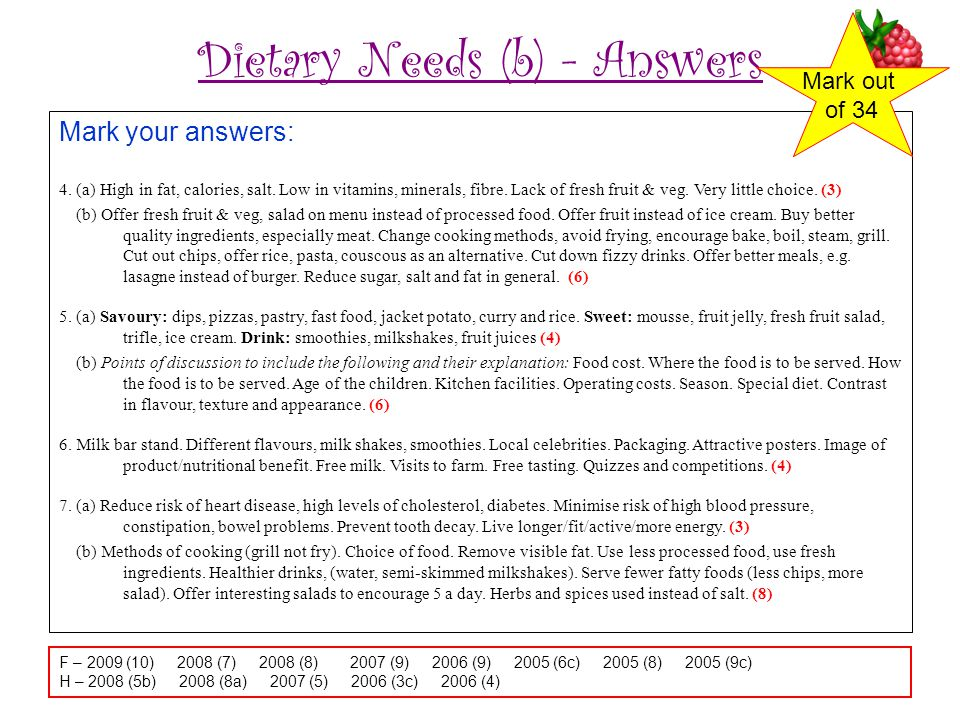 Dietary Needs (b) - Answers Mark your answers: 4.(a) High in fat, calories, salt.