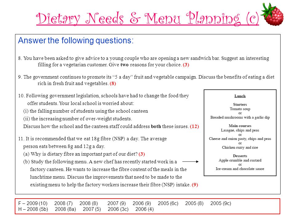 Dietary Needs & Menu Planning (c) Answer the following questions: 8. You have been asked to give advice to a young couple who are opening a new sandwi
