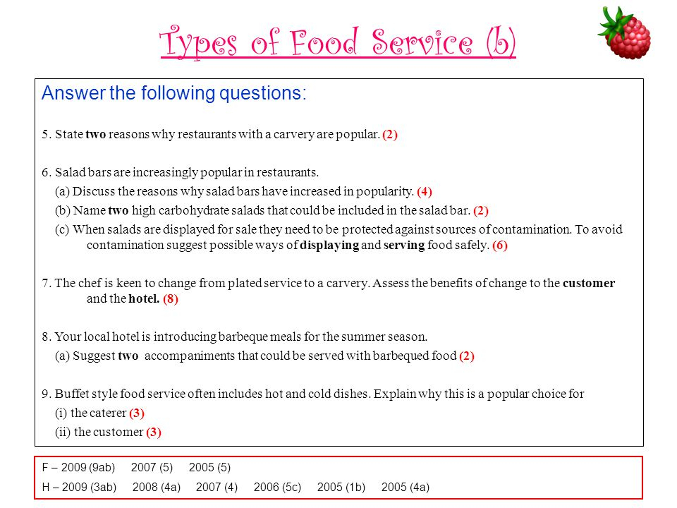 Types of Food Service (b) Answer the following questions: 5.