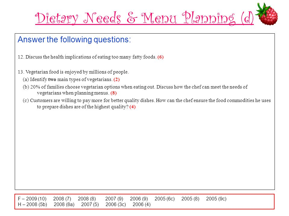 Dietary Needs & Menu Planning (d) Answer the following questions: 12.