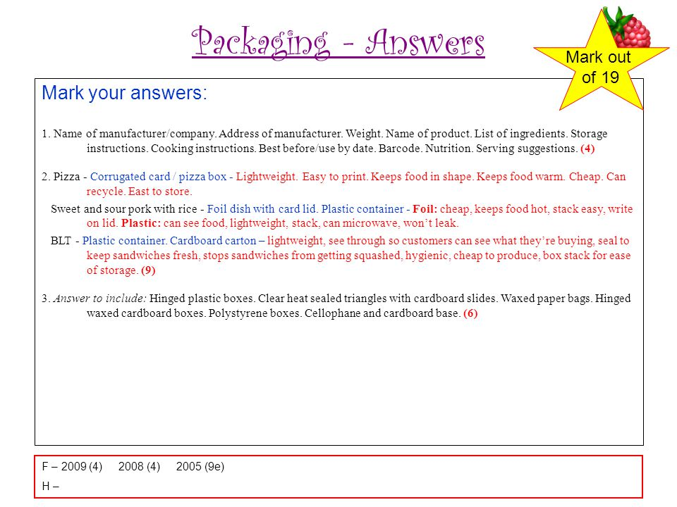 Packaging - Answers Mark your answers: 1.Name of manufacturer/company.