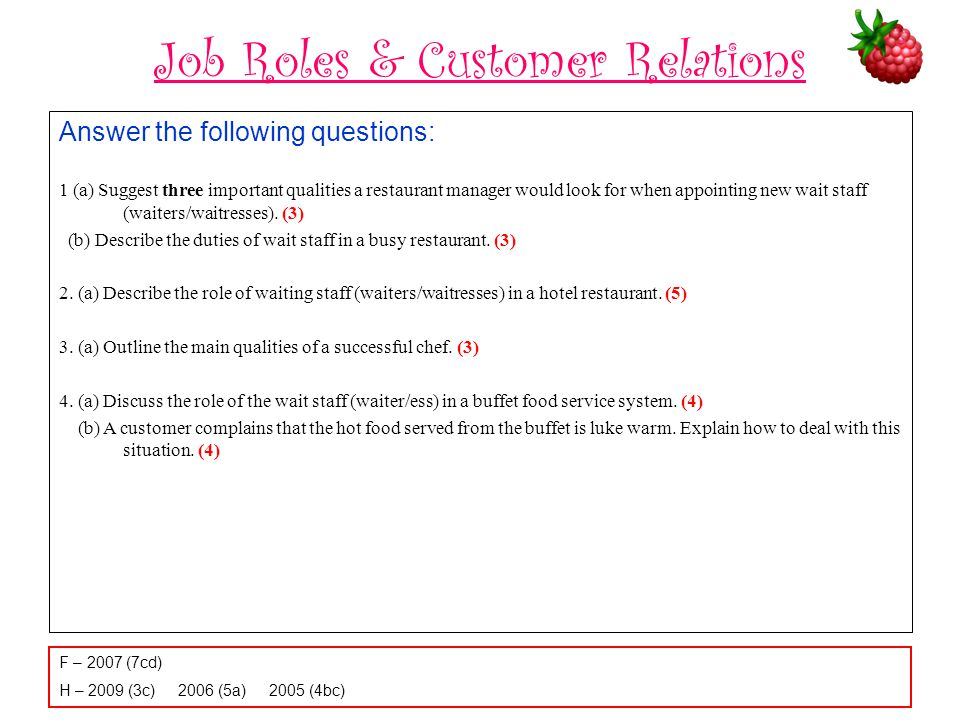 Job Roles & Customer Relations Answer the following questions: 1 (a) Suggest three important qualities a restaurant manager would look for when appoin