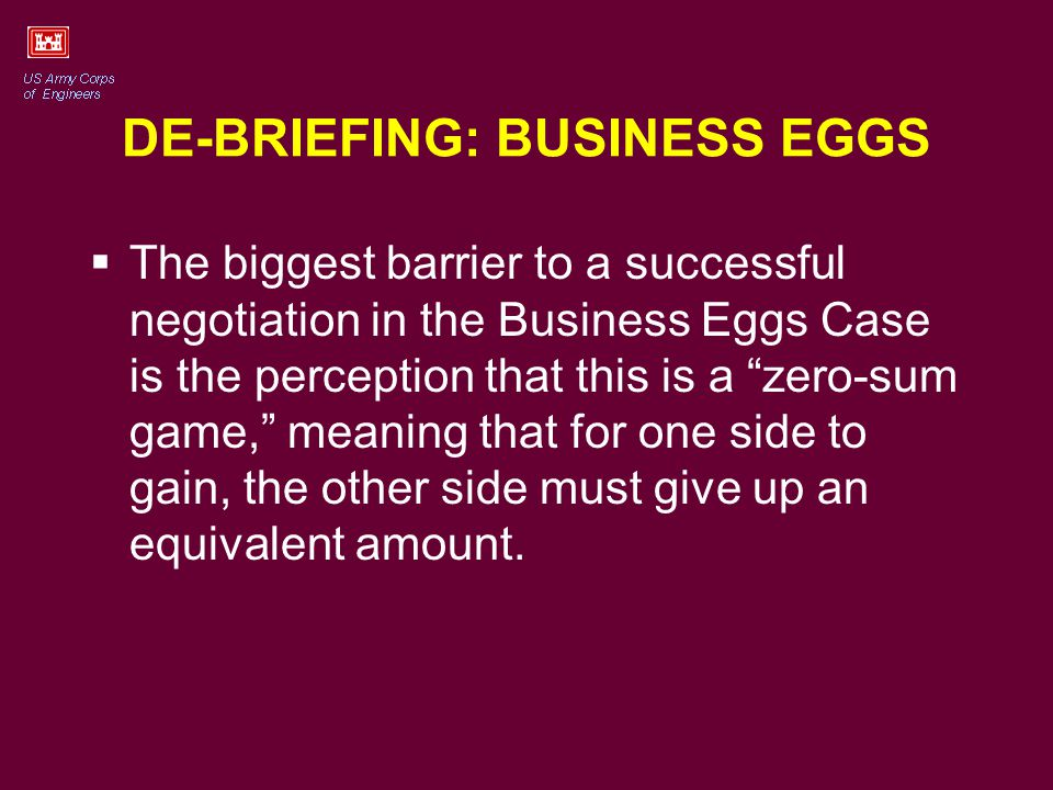 BUSINESS EGGS - Continued Additional levels of complication include: Reasons to mistrust the other person, e.g.