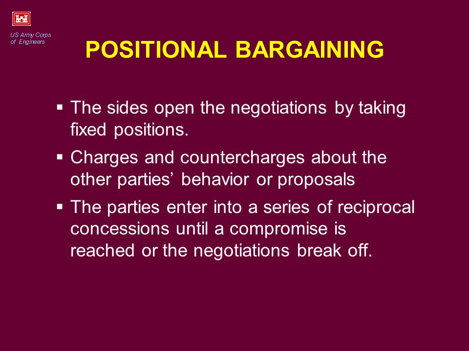 POSITIONAL BARGAINING The sides open the negotiations by taking fixed positions.