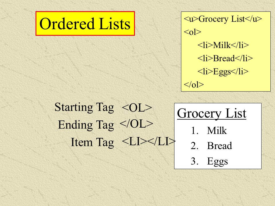 Ordered Lists Starting Tag Ending Tag Item Tag Grocery List 1. Milk 2. Bread 3. Eggs Grocery List Milk Bread Eggs