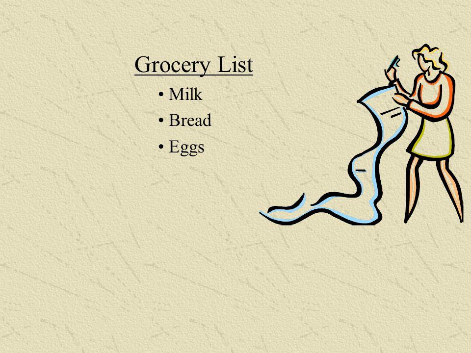 Grocery List o Milk o Bread o Eggs Unordered Lists Grocery List Milk Bread Eggs Grocery List Milk Bread Eggs